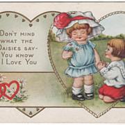 Little Girl with Daisies Little Boy Kneeling Valentine Vintage Postcard