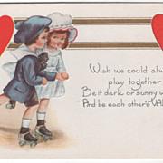 Boy and Girl Roller Skating Together Valentine Vintage Postcard