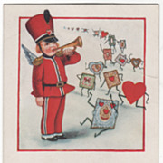 Soldier Cupid with Bugle Leading a Line of Valentines Valentine Vintage Postcard