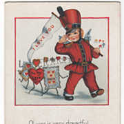 Soldier Cupid with a Banner Leading a Long Line of Valentines Valentine Vintage Postcard