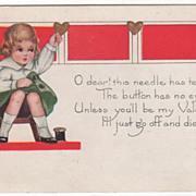 Boy Tailor Working on a Coat Valentine Vintage Postcard