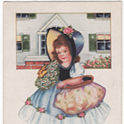 SOLD Girl in a Bonnet Holding Daisies and a Large Purse Valentine Vintage Postcard