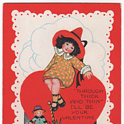 Little Girl Sitting on Top of a Large Red Heart Valentine Vintage Postcard