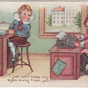 SOLD Boy at a Ledger Girl at a Typewriter Valentine Vintage Postcard