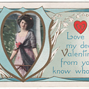Lady in a Heart-Shaped Frame Lilies of the Valley Valentine Vintage Postcard