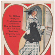 "SOLD ""Are You a May McMovie? Lady Going to the Movies Valentine Vintage Postcard"
