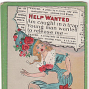 "Artist Signed C V Dwiggins ""Help Wanted"" Woman in a Bear Trap Vintage Comic Postcard"