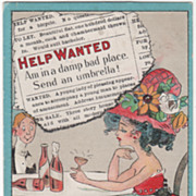 "SOLD Artist Signed C V Dwiggins ""Help Wanted"" Woman in a Damp Place Vintage Comic Po"