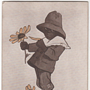 Artist Signed M T Sheahan Black Americana Black Boy with Daisies Vintage Postcard