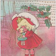 Artist Signed Margaret G Hays Little Girl with Doll Christmas Vintage Postcard