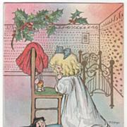 Artist Signed Margaret G. Hays Little Girl Praying Christmas Vintage Postcard