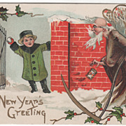 Artist Signed H B Griggs Child Ready to Throw Snowball at Father Time Vintage New Year Postcar