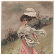 SOLD Artist Signed H B Griggs Lady with Apron Full of Eggs Bunnies at Her feet Vintage Easter