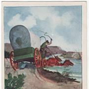 "Artist Signed Paul Gregg ""Fording the Freshet"" Vintage Cowboy Postcard"