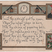 Artist Signed H B Griggs Town Criers Clock Holly Vintage New Year Postcard