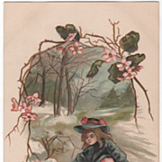 Artist Signed H B Griggs Arbutus and Girl Vintage Easter Postcard
