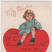 H B Griggs Little Boy Sitting on a Large Red Heart Vintage Valentine Postcard