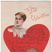 Artist Signed H B Griggs Young Man with Football and Book Vintage Valentine Postcard