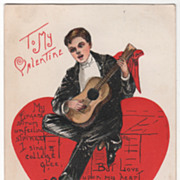 SOLD Artist Signed H B Griggs Young Man Playing a Guitar Vintage Valentine Postcard