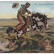 "Artist Signed Paul Gregg ""Broncho Busting Touching Leather"" Vintage Cowboy Postcard"