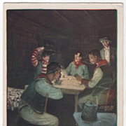 "Artist Signed Paul Gregg ""A Night in the Bunk House"" Vintage Cowboy Postcard"