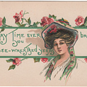 Artist Signed H B Griggs Woman with Roses Vintage Greeting Postcard