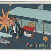 Artist Signed G B Star Kissing Airplane Pilot Vintage Greeting Postcard