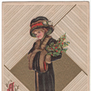 Artist Signed R Ford Harper Woman with Holly Vintage New Year Postcard
