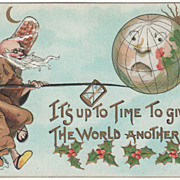 SOLD Artist Signed H B Griggs Father Time and the World Globe Vintage New Year Postcard - Red