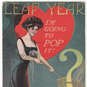 Artist Signed August Hutaf Woman with Popcorn Basket over Fire Vintage Leap Year Postcard