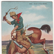 "Artist Signed Paul Gregg ""Stick to Your Saddle"" Vintage Cowboy Postcard"