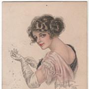 "Artist Signed Alice Luella Fidler ""American Girl No 25"" Vintage Glamour Lady Postcar"