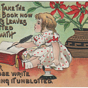 Artist Signed H B Griggs Little Girl Writing in New Year's Book Vintage New Year Postcard
