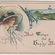 Artist Signed Kathryn Elliott Lady with a Country Scene Vintage Birthday Postcard