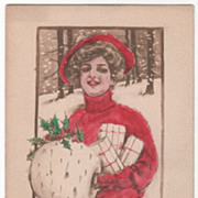 Artist Signed Kathryn Elliott Woman with Muff and Packages Vintage Christmas Postcard