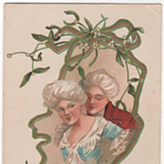 Artist Signed H B Griggs Colonial Couple Holly Vintage Christmas Postcard