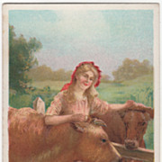 """Young Woman with Cattle """"Sweet Sixteen"""" Vintage Postcard"""