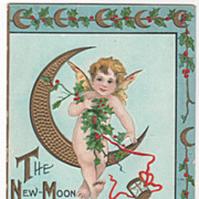 Artist Signed H B Griggs New Year Babe Sitting on Crescent Moon Vintage New Year Postcard