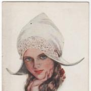 "Artist Signed Harrison Fisher ""Miss Knickerbocker"" Vintage Glamour Lady Postcard"