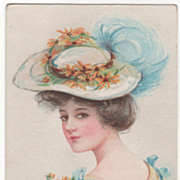 Young Woman in Large Hat Vintage Glamour Lady Postcard