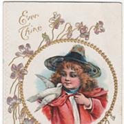 Girl with Dove on Shoulder Flowers Gold Circular Frame Vintage Greeting Postcard
