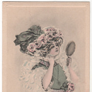 Artist Signed Edith Parsons Williams Lady with a Hand Mirror Vintage Glamour Ladies Postcard