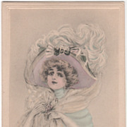 Artist Signed Edith Parsons Williams Lady with a Blue Stole Vintage Glamour Ladies Postcard