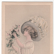 Artist Signed Edith Parsons Williams Lady with Pink Rose Bouquet Vintage Glamour Ladies ...