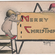 """Artist Signed Two Angels Writing """"Merry Christmas"""" on a Card Vintage Christmas Postc"""