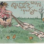 Artist Signed H B Griggs Bunnies Pulling Egg Cart Vintage Easter Postcard