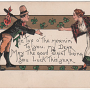 Artist Signed H B Griggs Man and Woman Shaking Hands Vintage St Patrick's Day ...
