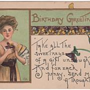 Artist Signed H B Griggs Lady with Pansies Vintage Birthday Postcard
