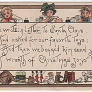 Artist Signed H B Griggs Three Children Toys Holly Vintage Christmas Postcard