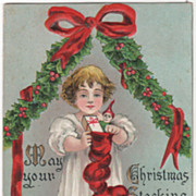 Artist Signed H B Griggs Girl with Christmas Stocking Christmas Vintage Postcard